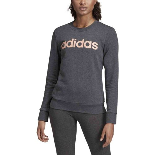 Womens adidas Essentials Lifestyle 3-Stripes Sweatshirt – Dark Grey Heather/Semi Coral