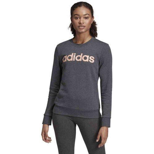 Womens adidas Essentials Lifestyle 3-Stripes Sweatshirt – Dark Grey Heather/Semi Coral