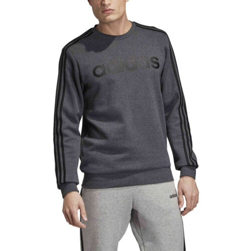 adidas Essentials Lifestyle 3-Stripes Fleece Crew – Dark Grey Heather