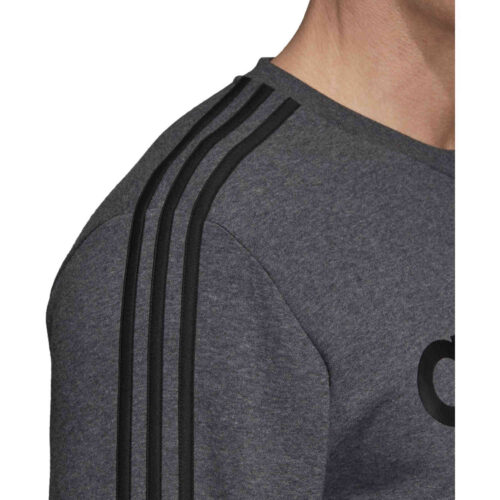 adidas Essentials Lifestyle 3-Stripes Fleece Crew – Dark Grey Heather