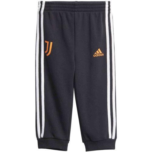 Infants adidas Juventus 3-Stripes Jogger – Black/White/App Signal Orange