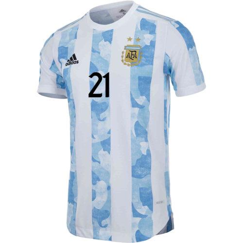 2021 adidas Paulo Dybala Argentina Home Authentic Jersey