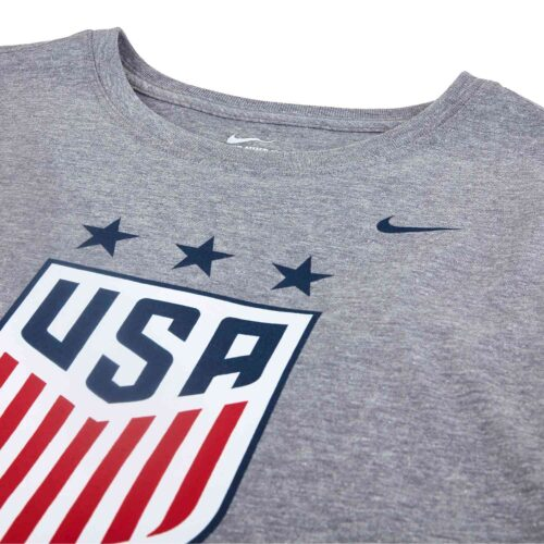 Girls Nike USWNT Crest Tee – Dark Grey Heather