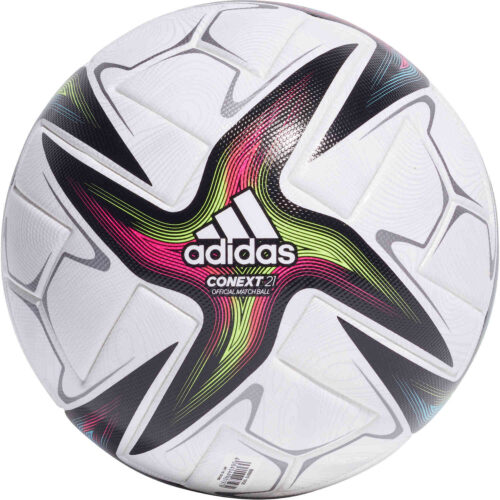 adidas CONEXT21 Pro Official Match Soccer Ball – White & Black with Shock Pink with Signal Green