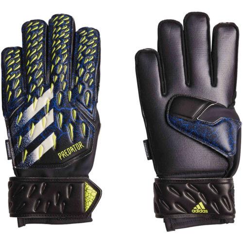 Kids adidas Predator Match Fingersave Positive Cut Goalkeeper Gloves – Black & Team Royal with Solar Yellow