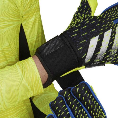 adidas Predator Pro Ultimate Fingersave Negative Cut Goalkeeper Gloves – Black & Team Royal with Solar Yellow