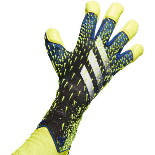 adidas Predator Pro Hybrid Cut Goalkeeper Gloves – Black & Team Royal with Solar Yellow