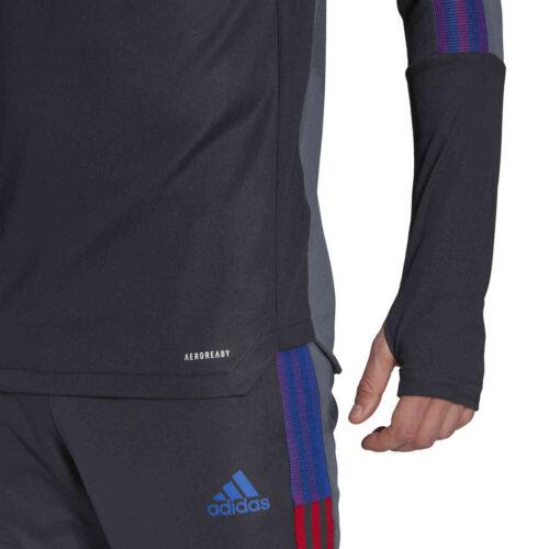 adidas Human Race Manchester United 1/4 zip Training Top – Dark Grey/Onix