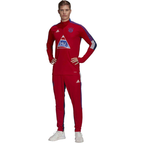 adidas Human Race Bayern Munich 1/4 zip Training Top – FCB True Red/Dark Blue