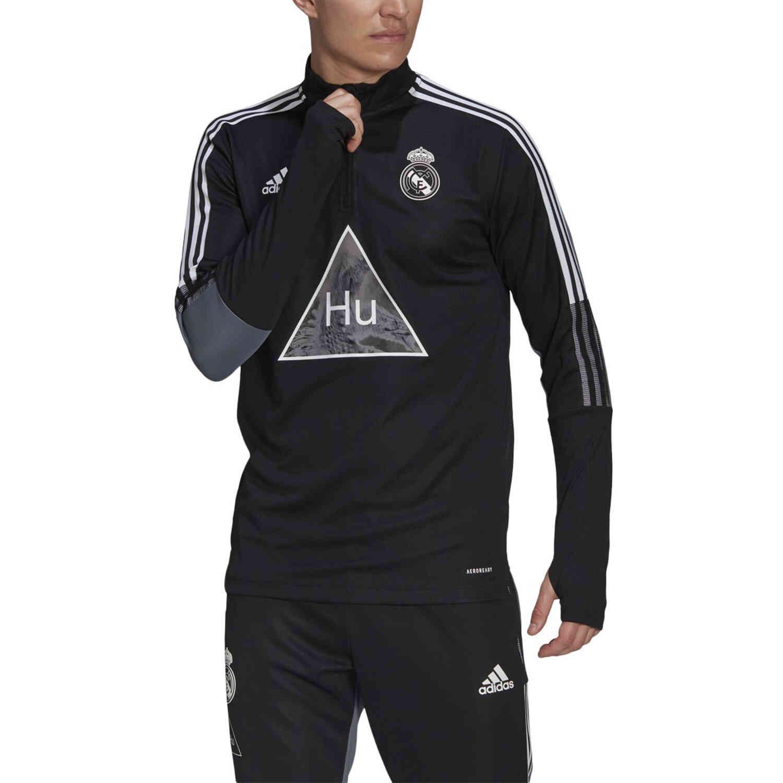adidas Human Race Real Madrid 1/4 zip Training Top – Black/Onix