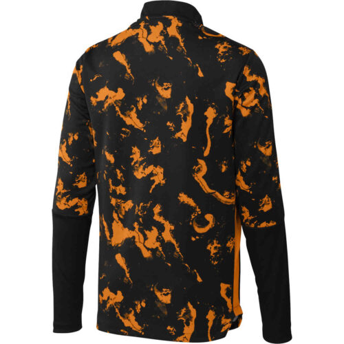 adidas Juventus All Over Print 1/4 zip Training Top – Black/Bahia Orange