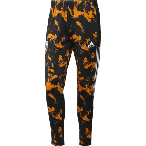 adidas Juventus All Over Print Training Pants – Black/Bahia Orange