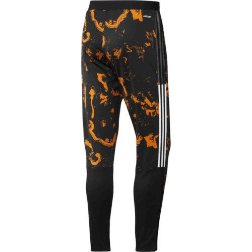 adidas Juventus All Over Print Training Pants – Black/Bahia Orange