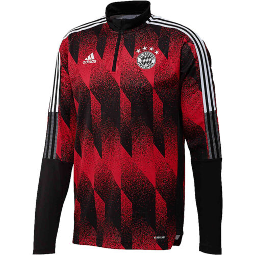 adidas Bayern Munich All Over Print 1/4 zip Training Top – Black/FCB True Red