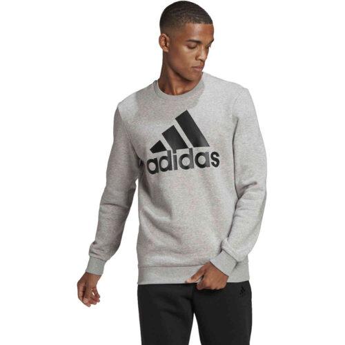 adidas Fleece Logo Sweatshirt – Medium Grey Heather/Black