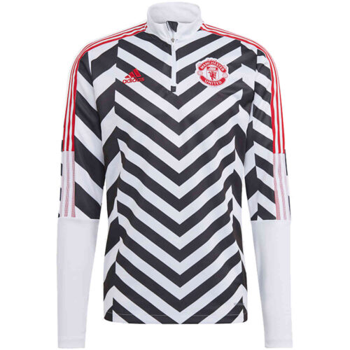 adidas Manchester United All Over Print 1/4 zip Training Top – White/Black