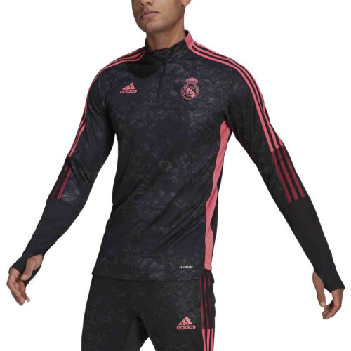 adidas Real Madrid All Over Print 1/4 zip Training Top – Black