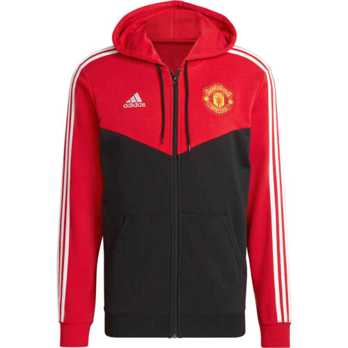adidas Manchester United 3-Stripes Full-zip Hoodie – Real Red/Black