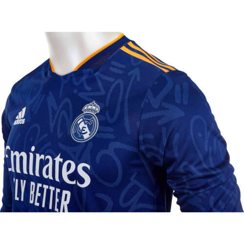 2021/22 adidas Real Madrid L/S Away Authentic Jersey