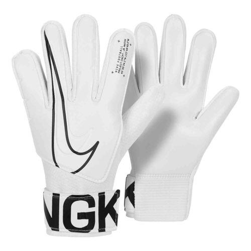 Kids Nike Match Goalkeeper Gloves – White/Black