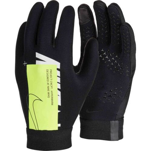 Kids Nike Air Academy Hyperwarm Fieldplayer Gloves – Black/Volt