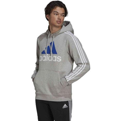 adidas Fleece 3-Stripes Logo Hoodie – Medium Grey Heather/White