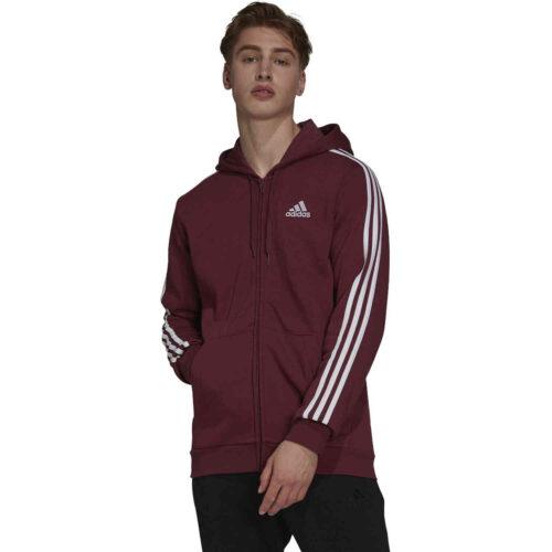 adidas Essentials Fleece Full-zip Hoodie – Victory Crimson/White