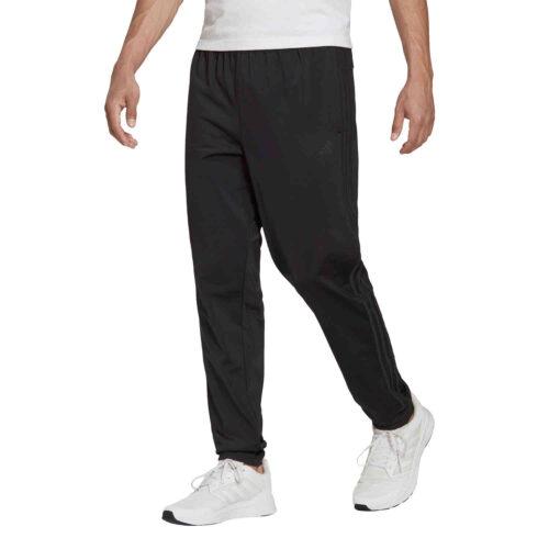 adidas Tapered 3-Stripes Track Pants – Black/Black