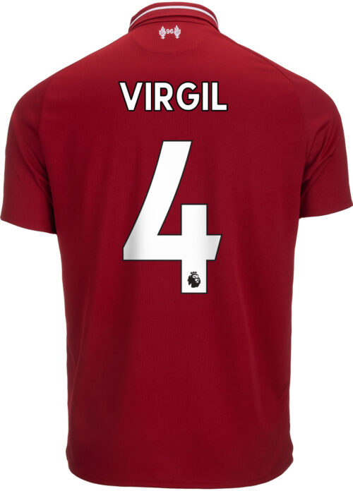 2018/19 Kids New Balance Virgil van Dijk Liverpool Home Jersey