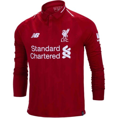 New Balance Liverpool Home L/S Jersey – Youth 2018-19