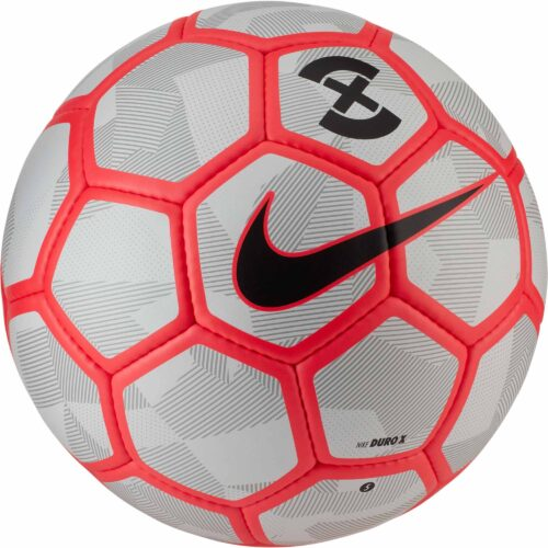 Nike Duro X Soccer Ball – Pure Platinum/Bright Crimson