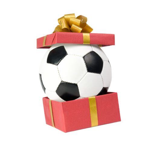 Soccer ball in a gift box.