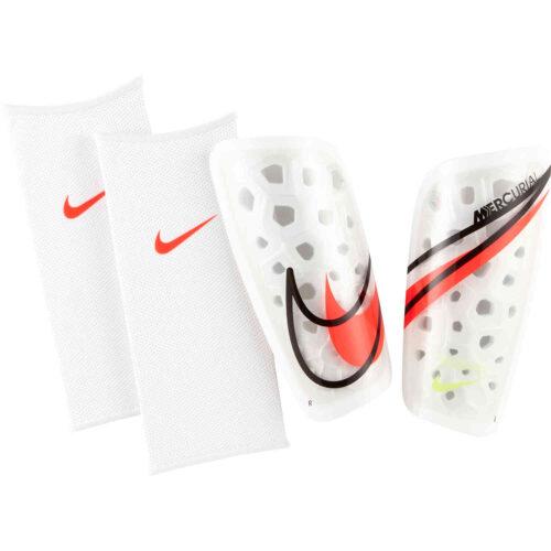 Nike Mercurial Lite Shin Guards – White & Black with Bright Crimson