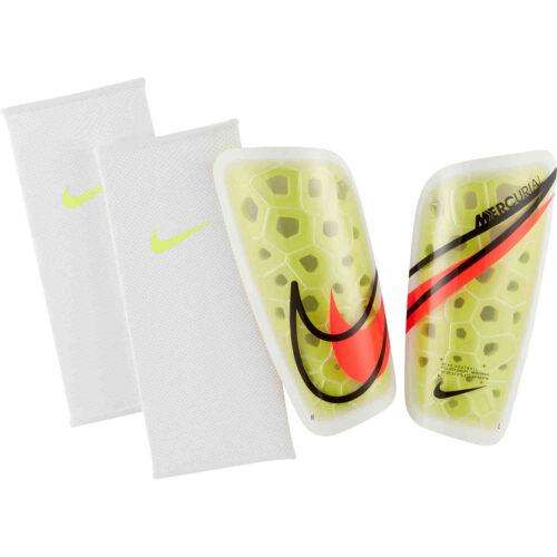 Nike Mercurial Lite Shin Guards – Volt & White with Bright Crimson