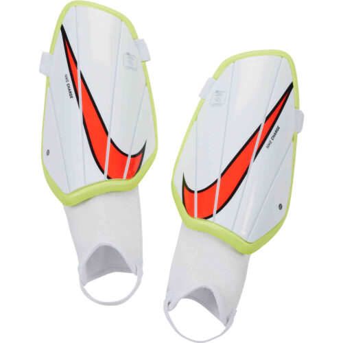 Nike Charge Shin Guards – White & Volt with Bright Crimson