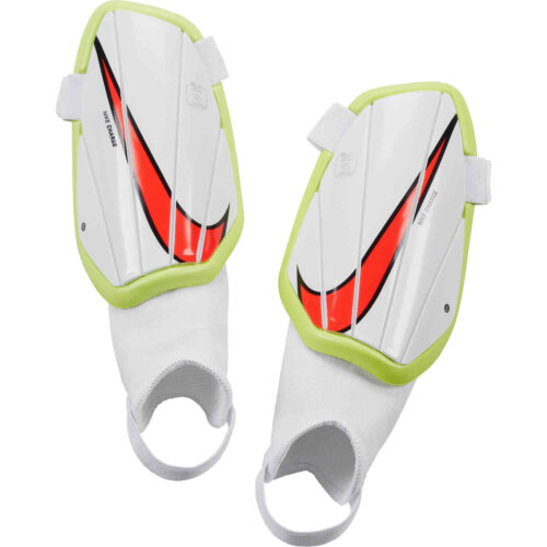 Kids Nike Charge Shin Guards – White & Volt with Bright Crimson