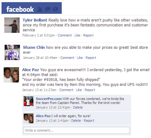 SoccerPro Customer Testimonials from Facebook